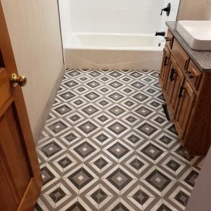 Dark Grey Stone Mosaic Tile Floor